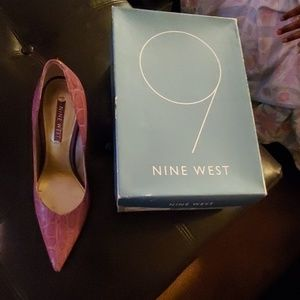Nine West purple crocodile heels